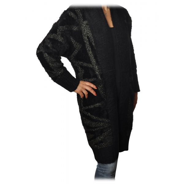 Patrizia Pepe - Long Cardigan Without Closures - Black - Pullover - Made in Italy - Luxury Exclusive Collection