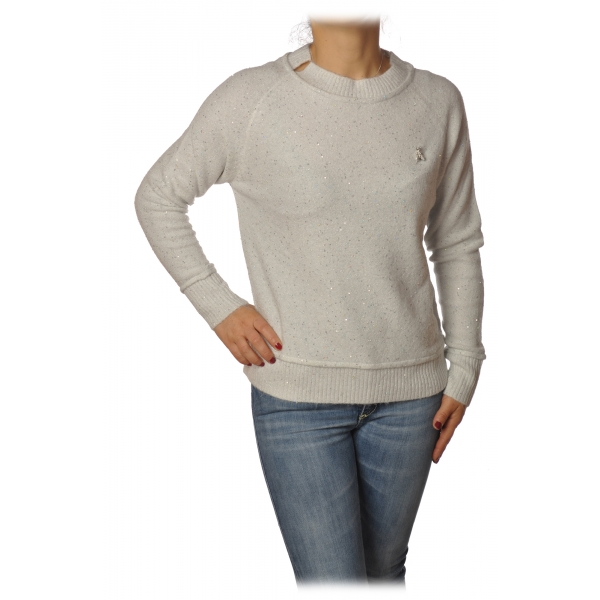 Patrizia Pepe - Sweater Round Neck with Paillettes - White - Pullover - Made in Italy - Luxury Exclusive Collection