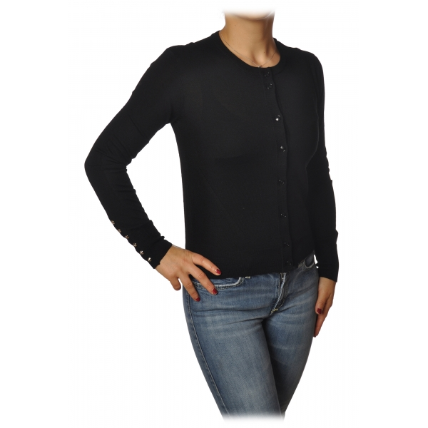 Patrizia Pepe - Crew-Neck Cardigan with Buttons - Black - Pullover - Made in Italy - Luxury Exclusive Collection