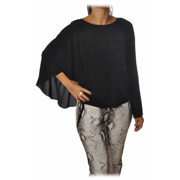 Patrizia Pepe -Tunic Blouse Model Asymmetrical - Black - Shirt - Made in Italy - Luxury Exclusive Collection