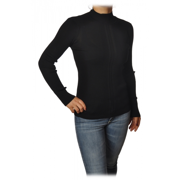 Patrizia Pepe - Sweater with Long Sleeves in Stretch Yarn - Black - Pullover - Made in Italy - Luxury Exclusive Collection