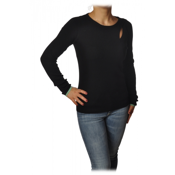 Patrizia Pepe - Crew-Neck Sweater with Opening on the Front - Black - Pullover - Made in Italy - Luxury Exclusive Collection