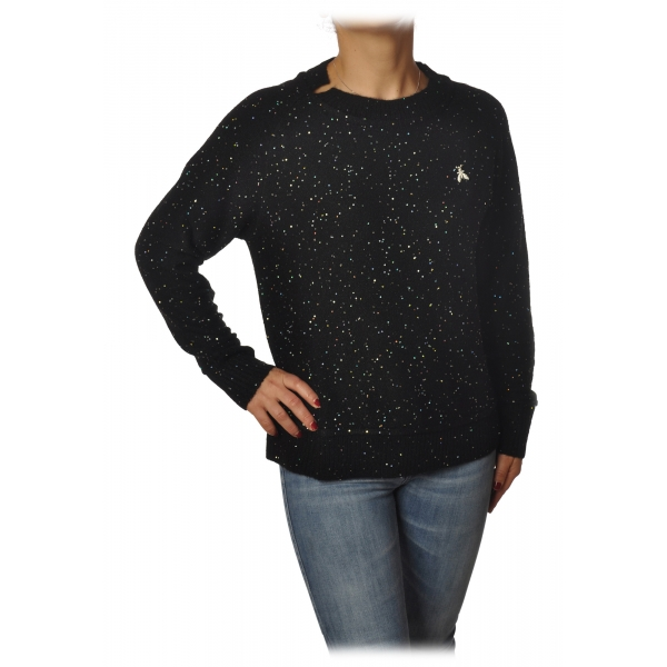 Patrizia Pepe - Sweater Round Neck with Paillettes - Black - Pullover - Made in Italy - Luxury Exclusive Collection
