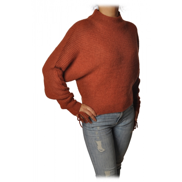 Patrizia Pepe - Sweater Wide Model with Crater Neck - Dark Orange - Pullover - Made in Italy - Luxury Exclusive Collection
