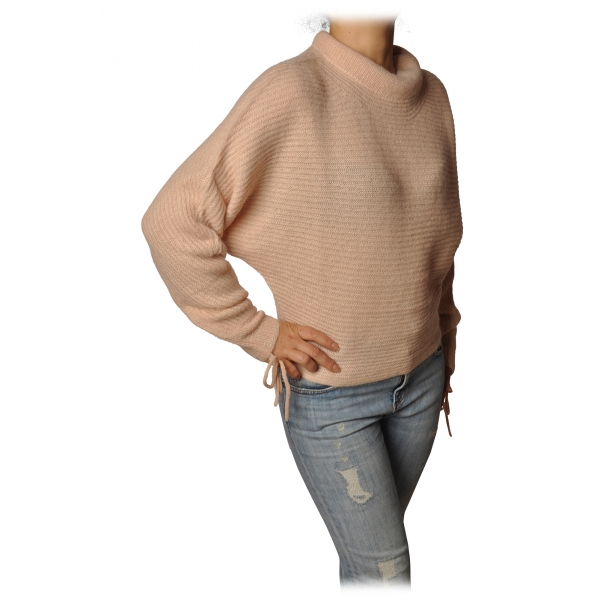 Patrizia Pepe - Sweater Wide Model with Crater Neck - Light Pink - Pullover - Made in Italy - Luxury Exclusive Collection