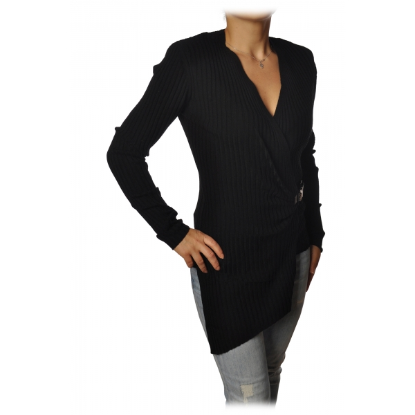 Patrizia Pepe - Sweater Tight Model with Buckle - Black - Pullover - Made in Italy - Luxury Exclusive Collection
