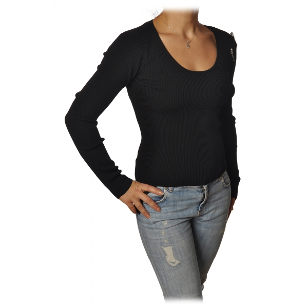 Patrizia Pepe - Sweater with Opening on the Shoulder - Black - Pullover - Made in Italy - Luxury Exclusive Collection