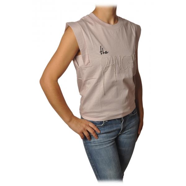 Patrizia Pepe - T-shirt Senza Maniche con Apertura Dietro - Rosa Chiaro - T-Shirt - Made in Italy - Luxury Exclusive Collection