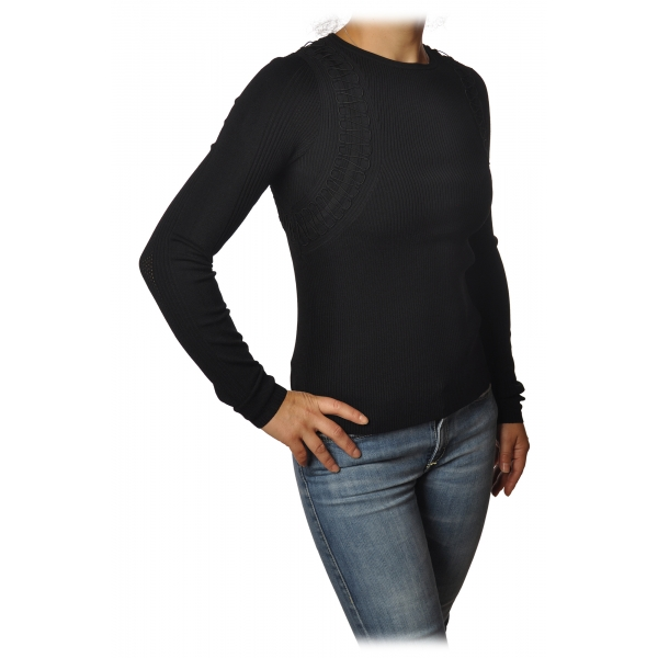 Patrizia Pepe - Crew-neck Sweater with Armhole Detail - Black - Pullover - Made in Italy - Luxury Exclusive Collection