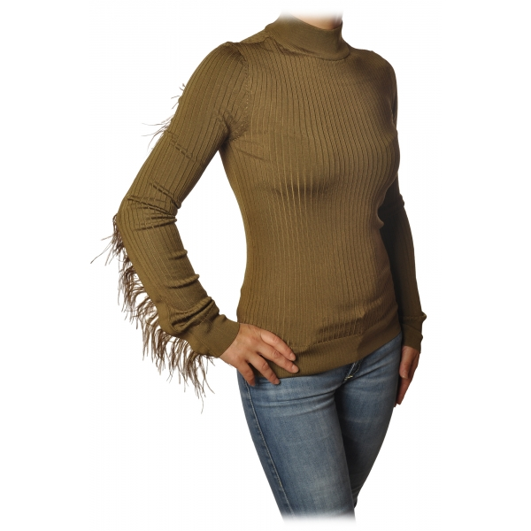 Patrizia Pepe - Sweater with Removable Feather Insert - Camel - Pullover - Made in Italy - Luxury Exclusive Collection