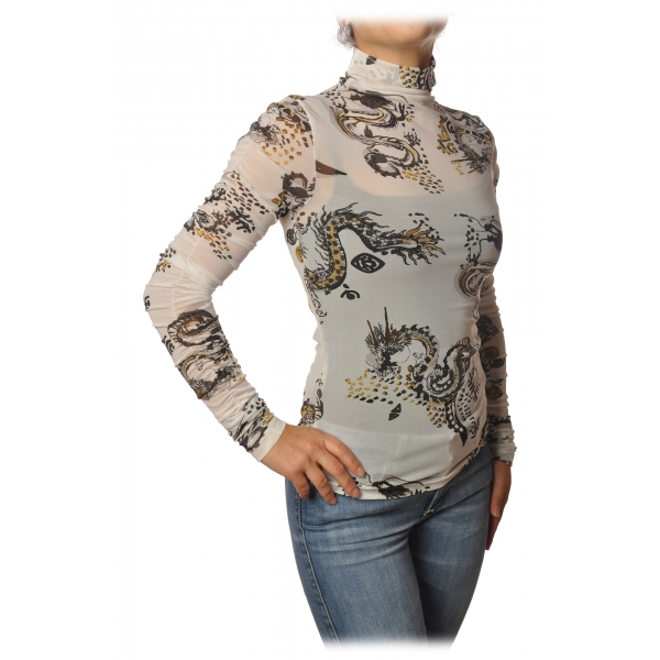 Patrizia Pepe - T-shirt Manica Lunga in Tulle Fantasia - Bianco/Draghi - T-Shirt - Made in Italy - Luxury Exclusive Collection