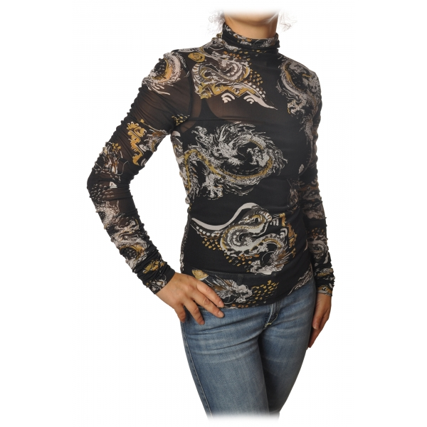 Patrizia Pepe - Long-Sleeve T-Shirt Tulle Model Pattern - Black/Dragon - T-shirt - Made in Italy - Luxury Exclusive Collection