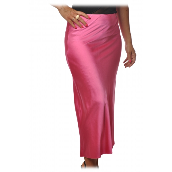Elisabetta Franchi - Midi Skirt High Waist Satin Effect - Shocking Pink - Skirt - Made in Italy - Luxury Exclusive Collection
