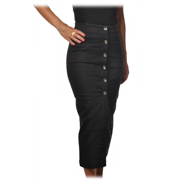 Elisabetta Franchi - Sheath Model Midi Skirt in Denim - Black - Skirt - Made in Italy - Luxury Exclusive Collection
