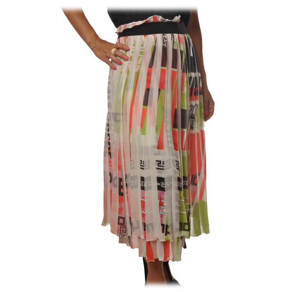 Elisabetta Franchi - Midi Skirt Plissè Effect in Pattern - Multicolor - Skirt - Made in Italy - Luxury Exclusive Collection