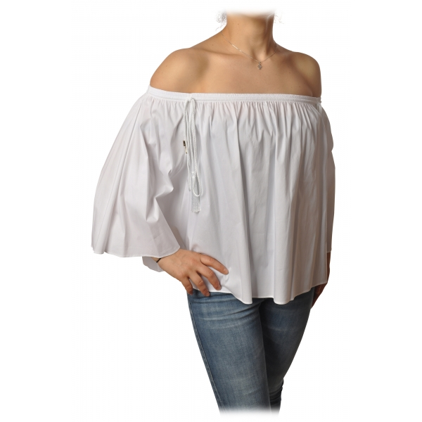 Patrizia Pepe - Shirt Blouse Model with Elastic - White - Shirt - Made in Italy - Luxury Exclusive Collection
