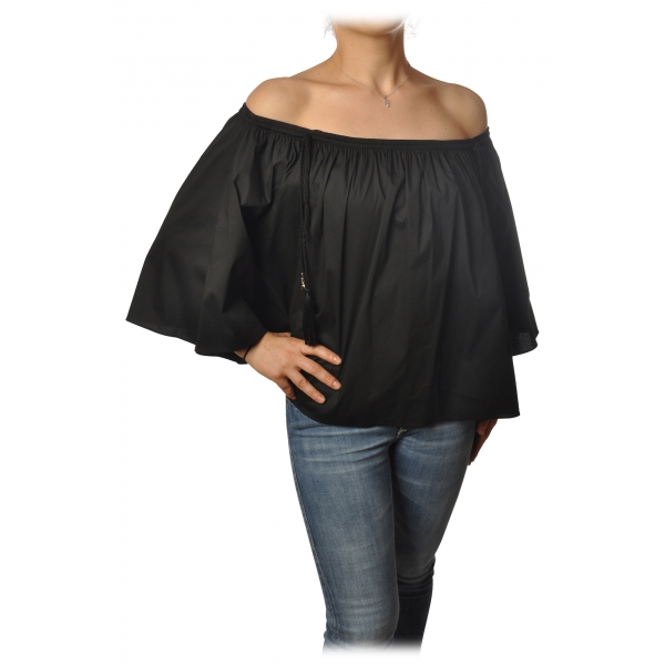 Patrizia Pepe - Shirt Blouse Model with Elastic - Black - Shirt - Made in Italy - Luxury Exclusive Collection