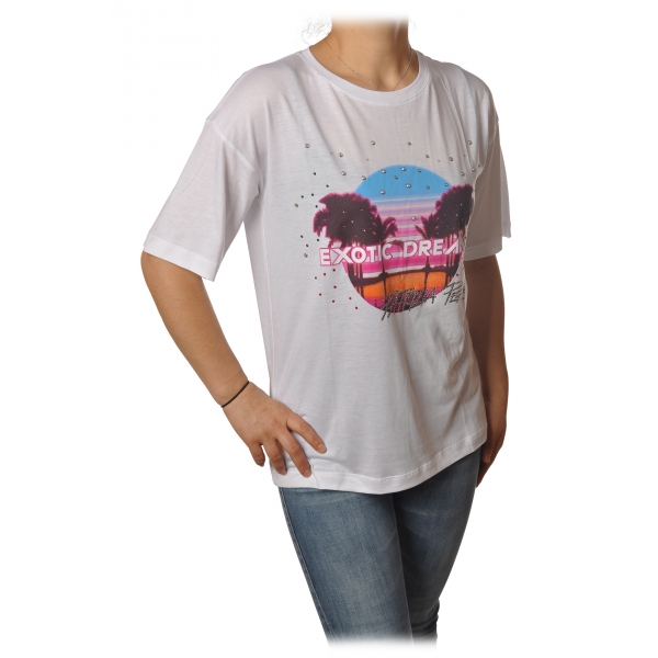 Patrizia Pepe - T-shirt Round-Neck Model with Print and Strass - White - T-shirt - Made in Italy - Luxury Exclusive Collection