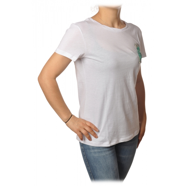 Patrizia Pepe - T-shirt con Ricamo Perline a Forma di Mosca - Bianco - T-Shirt - Made in Italy - Luxury Exclusive Collection