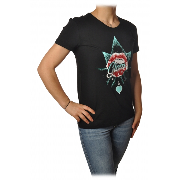 Patrizia Pepe - T-shirt Girocollo con Stampa e Strass - Nero - T-Shirt - Made in Italy - Luxury Exclusive Collection