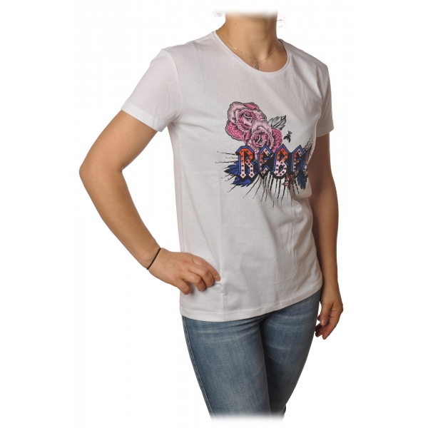Patrizia Pepe - T-shirt Girocollo con Stampa e Strass - Bianco - T-Shirt - Made in Italy - Luxury Exclusive Collection