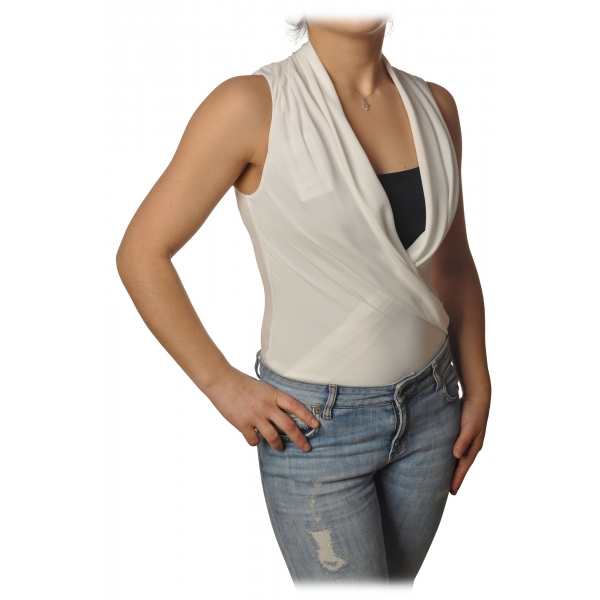 Patrizia Pepe - Body Sleeveless with Crossed V-neck - White - Shirt - Made in Italy - Luxury Exclusive Collection