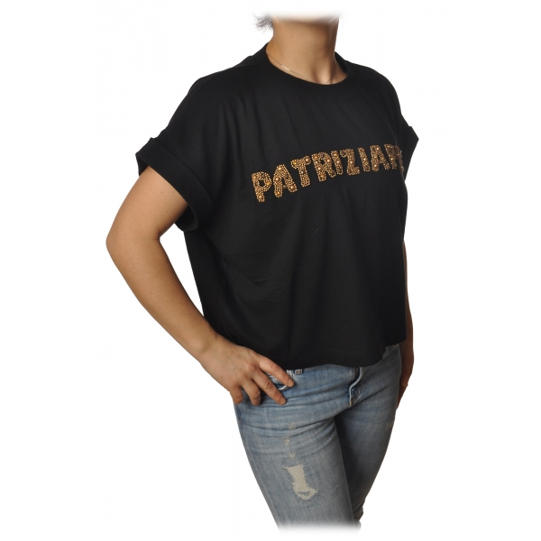 Patrizia Pepe - Felpa Over Manica Corta con Apertura sul Retro - Nero - T-Shirt - Made in Italy - Luxury Exclusive Collection