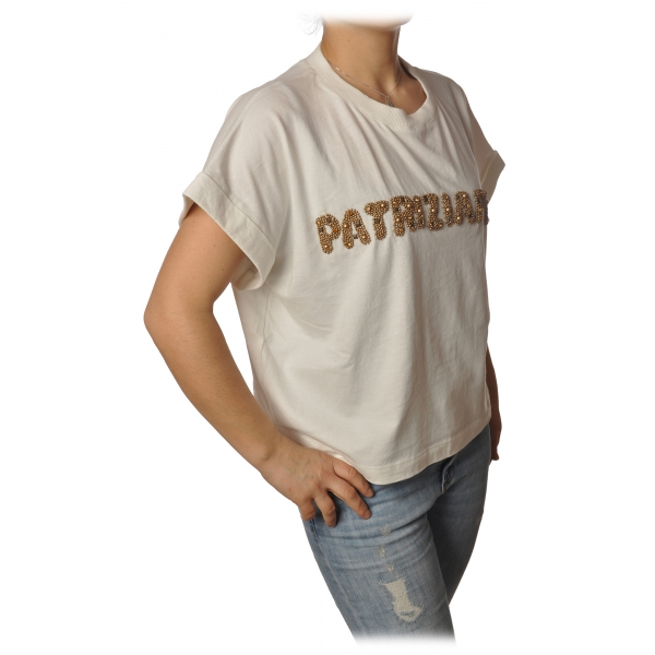 Patrizia Pepe - Felpa Over Manica Corta con Apertura sul Retro - Bianco - T-Shirt - Made in Italy - Luxury Exclusive Collection