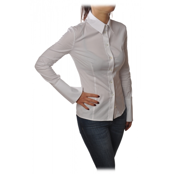 Patrizia Pepe - Long Sleeve Shirt with Visible Buttons - White - Shirt - Made in Italy - Luxury Exclusive Collection