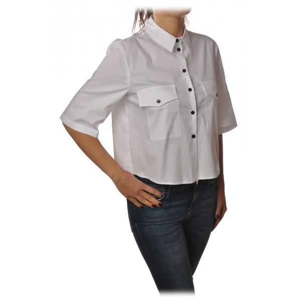 Patrizia Pepe - Camicia Manica 3/4 con Bottoni in Contrasto - Bianco - Camicia - Made in Italy - Luxury Exclusive Collection