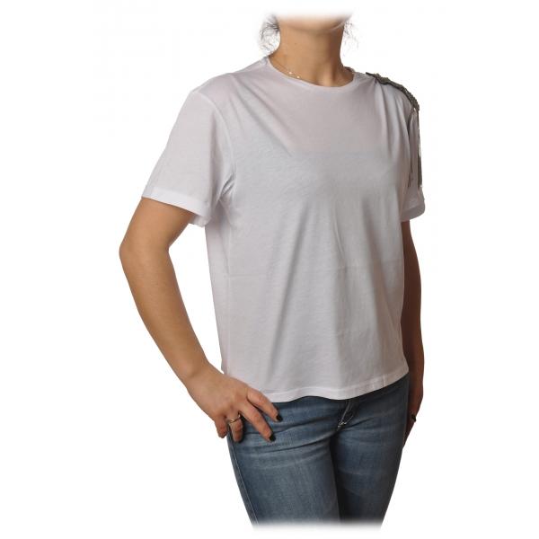 Patrizia Pepe - T-shirt Girocollo con Dettaglio Spilla - Bianco - T-Shirt - Made in Italy - Luxury Exclusive Collection
