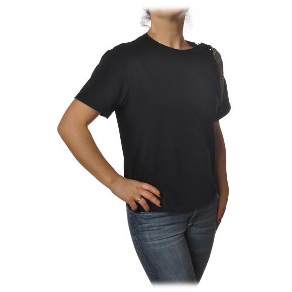 Patrizia Pepe - T-shirt Girocollo con Dettaglio Spilla - Nero - T-Shirt - Made in Italy - Luxury Exclusive Collection