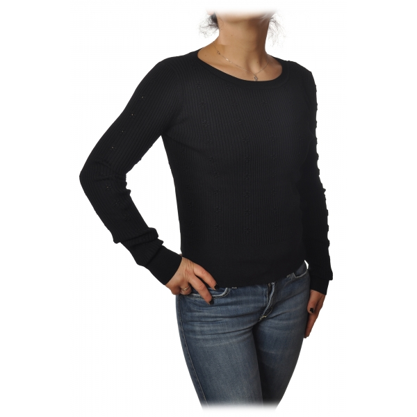 Patrizia Pepe - Crew-neck Ribbed Sweater - Black - Pullover - Made in Italy - Luxury Exclusive Collection