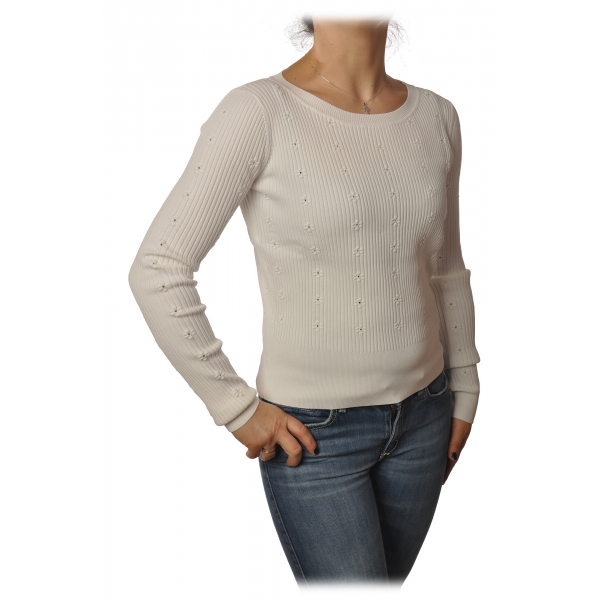 Patrizia Pepe - Crew-neck Ribbed Sweater - White - Pullover - Made in Italy - Luxury Exclusive Collection