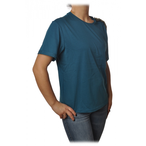 Patrizia Pepe - T-shirt Round-Neck Model Brooch Detail - Petrol Blue - T-shirt - Made in Italy - Luxury Exclusive Collection