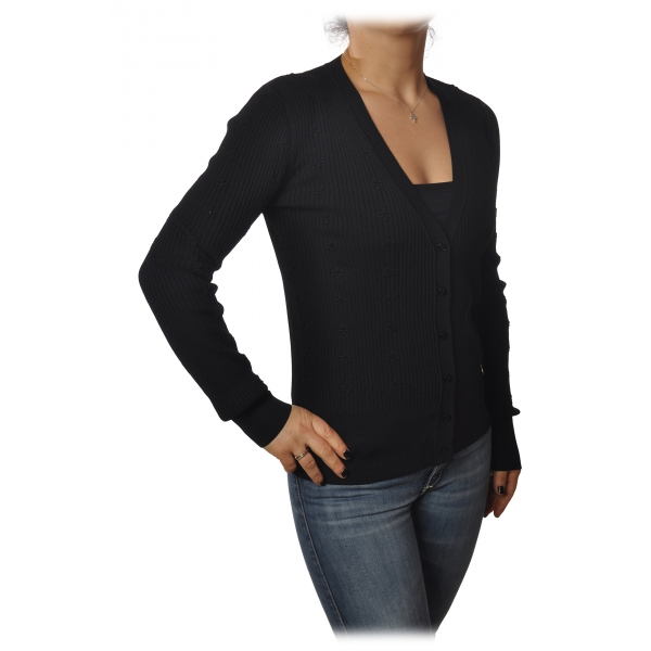 Patrizia Pepe - Cardigan Model with Buttons and V-neck - Black - Pullover - Made in Italy - Luxury Exclusive Collection