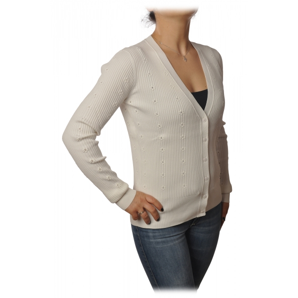 Patrizia Pepe - Cardigan Model with Buttons and V-neck - White - Pullover - Made in Italy - Luxury Exclusive Collection