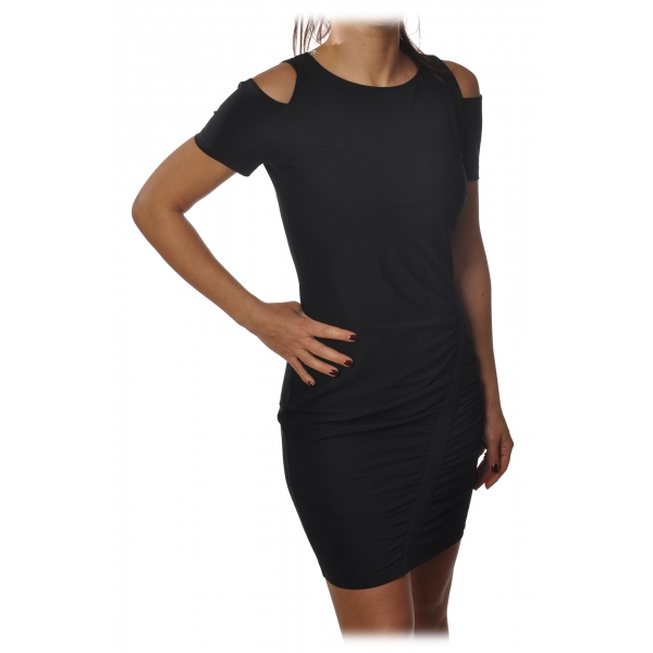 Patrizia Pepe - Short Dress with Short Sleeves and Nude Shoulders - Nero - Dress - Made in Italy - Luxury Exclusive Collection