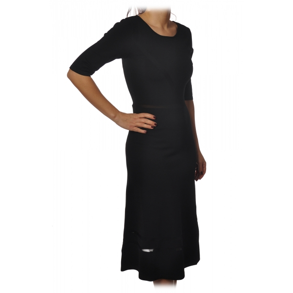 Patrizia Pepe - 3/4 Sleeves Dress Below the Knee - Black - Dress - Made in Italy - Luxury Exclusive Collection