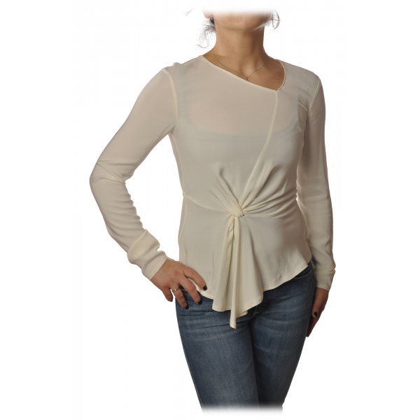 Patrizia Pepe - Blouse with Crossed Fabric Detail - Cream - Shirt - Made in Italy - Luxury Exclusive Collection