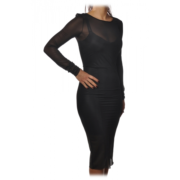Patrizia Pepe - Tight Sheath Dress in Transparent Fabric with Slip - Black - Dress - Made in Italy - Luxury Exclusive Collection