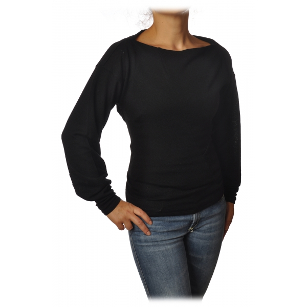 Patrizia Pepe - Boat Neck Sweater with Sash - Black - Pullover - Made in Italy - Luxury Exclusive Collection
