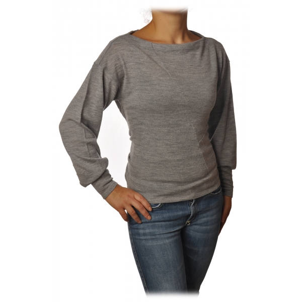 Patrizia Pepe - Boat Neck Sweater with Sash - Gray Melange - Pullover - Made in Italy - Luxury Exclusive Collection