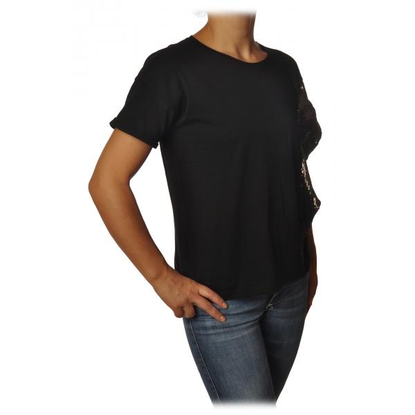 Patrizia Pepe - T-shirt Girocollo con Rouche di Paillettes - Nero - T-Shirt - Made in Italy - Luxury Exclusive Collection