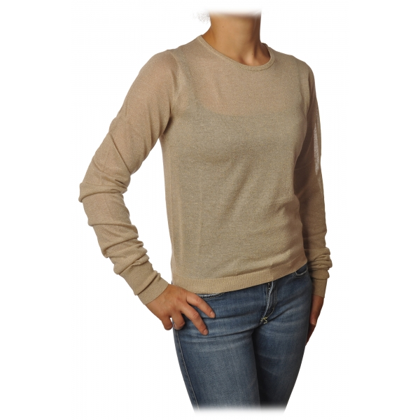 Patrizia Pepe - Sweater Crew-neck in Laminated Yarn - Beige - Pullover - Made in Italy - Luxury Exclusive Collection