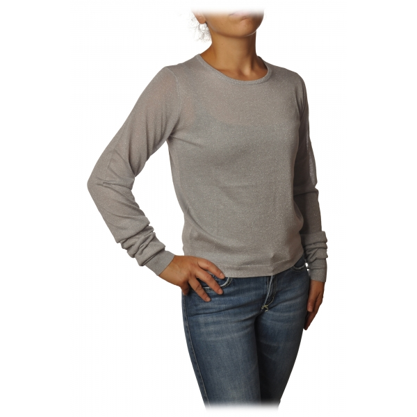 Patrizia Pepe - Sweater Crew-neck in Laminated Yarn - Light Grey - Pullover - Made in Italy - Luxury Exclusive Collection