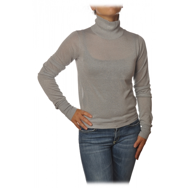 Patrizia Pepe - High Collar Sweater in Laminated Yarn - Light Grey - Pullover - Made in Italy - Luxury Exclusive Collection