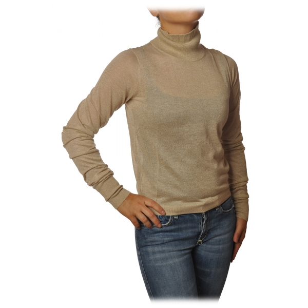Patrizia Pepe - High Collar Sweater in Laminated Yarn - Beige - Pullover - Made in Italy - Luxury Exclusive Collection