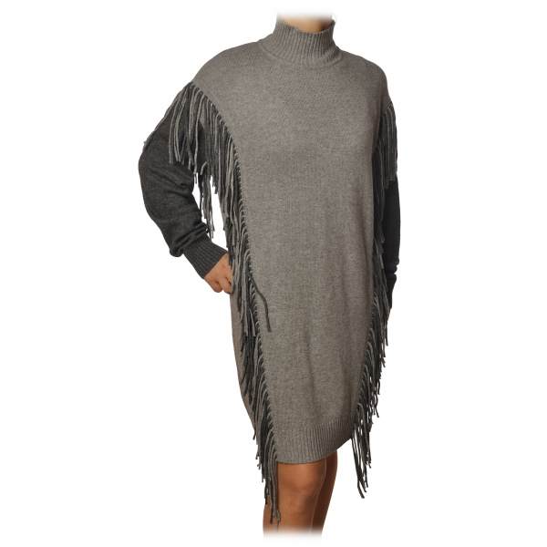 Pinko - Mock Neck Dress with Fringes - Pearl Grey - Dress - Made in Italy - Luxury Exclusive Collection
