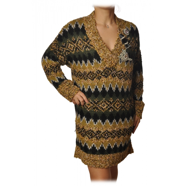 Pinko - Jaquard Boucle Knit Dress - Yellow/green/Black - Dress - Made in Italy - Luxury Exclusive Collection